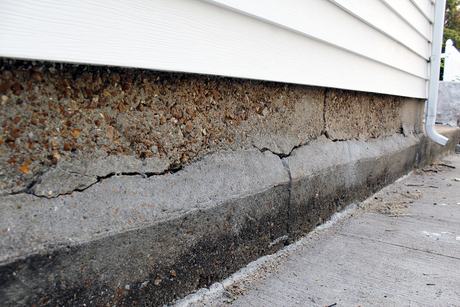 foundation damage on a residential home garage