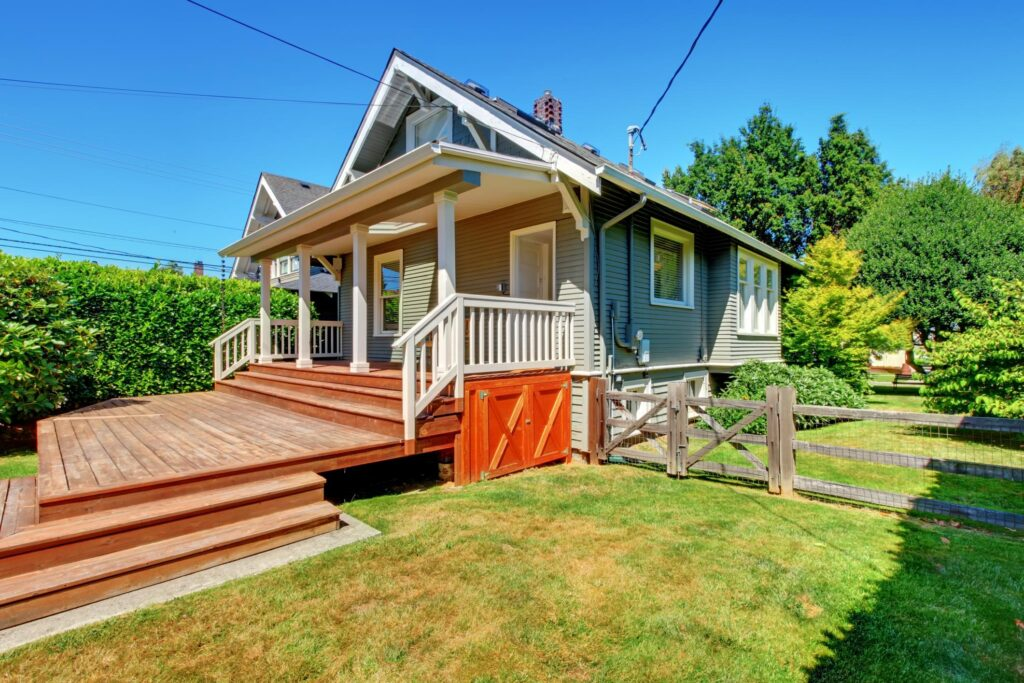 house with wooden deck