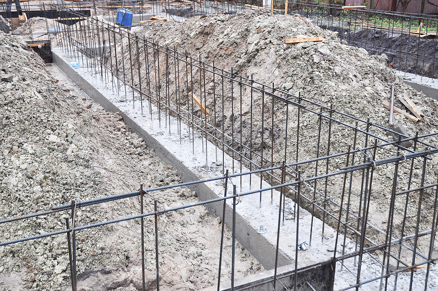 reinforcement in a strip house wall foundation. house foundation construction.